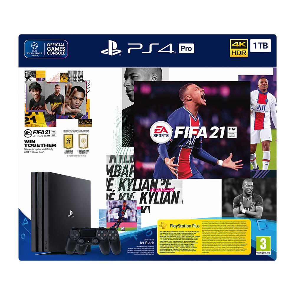 """קונסולה פרו Sony Playstation 4 Pro 1TB + Fifa 21 + בקר נוסף ותוכן בלעדי - שנה אחריות ע""""י היבואן הרשמי"""