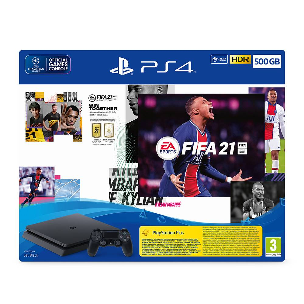 """קונסולה Sony Playstation 4 500GB + Fifa 21 + בקר נוסף ותוכן בלעדי - צבע שחור שנה אחריות ע""""י היבואן הרשמי"""